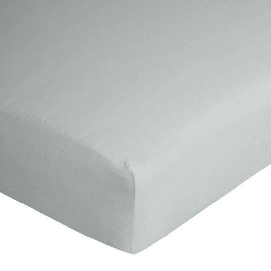 Prześcieradło bawełniane gładkie 180x200+25cm 140 kolor srebrny - 180 X 200 cm, wys.25 cm - jasnoszary