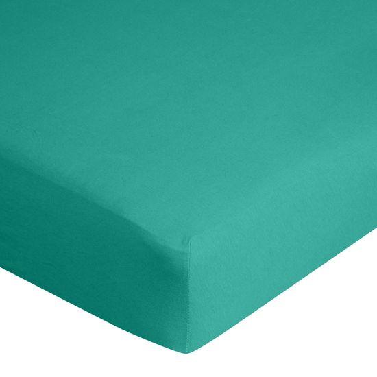 Prześcieradło bawełniane gładkie 180x200+25cm 140 kolor turkusowy - 180 X 200 cm, wys.25 cm - turkusowy