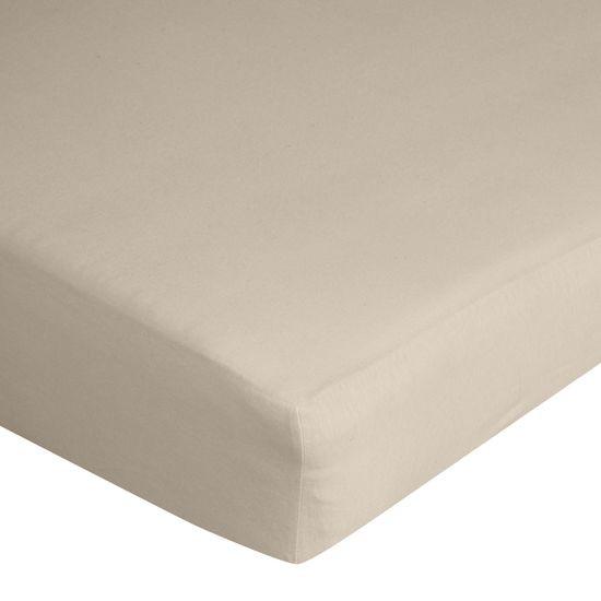 Prześcieradło bawełniane gładkie 220x200+25cm 140 kolor beżowy - 220 X 200 cm, wys.25 cm - beżowy