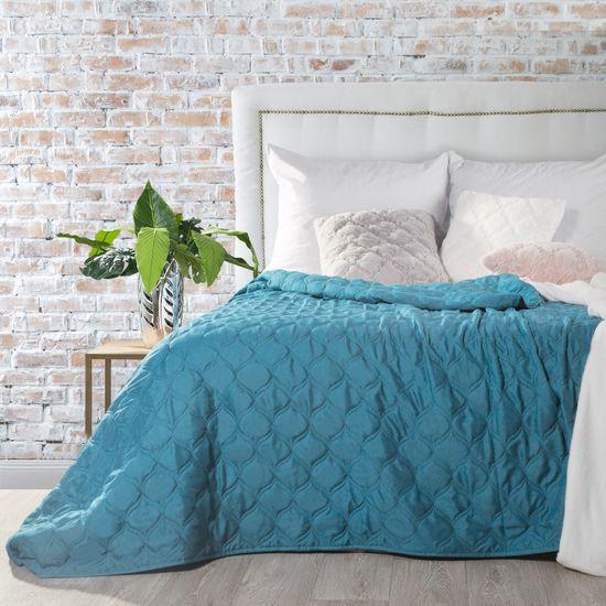 Narzuta na łóżko przeszywana 200x220 cm niebieska - 200 X 220 cm - niebieski