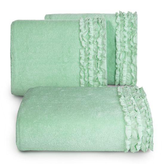 Ręcznik z bawełny z falbankami 50x90cm miętowy - 50 X 90 cm