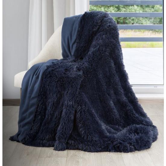 Granatowa NARZUTA FUTERKOWA na łóżko wersalkę 170x210 cm - 170 X 210 CM