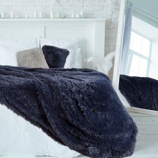 Granatowa NARZUTA FUTERKOWA na łóżko wersalkę 200x220 cm - 200x220