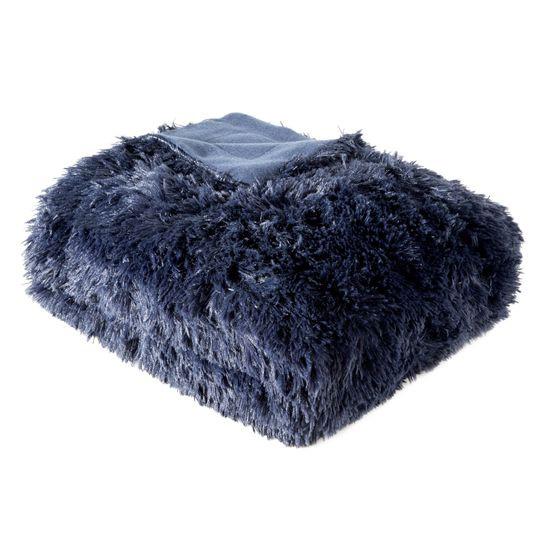 Granatowa NARZUTA FUTERKOWA na fotel 70x140 cm - 70x140