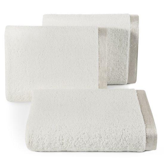 Ręcznik z bawełny z błyszczącym brzegiem 50x90cm biały - 50 X 90 cm - kremowy