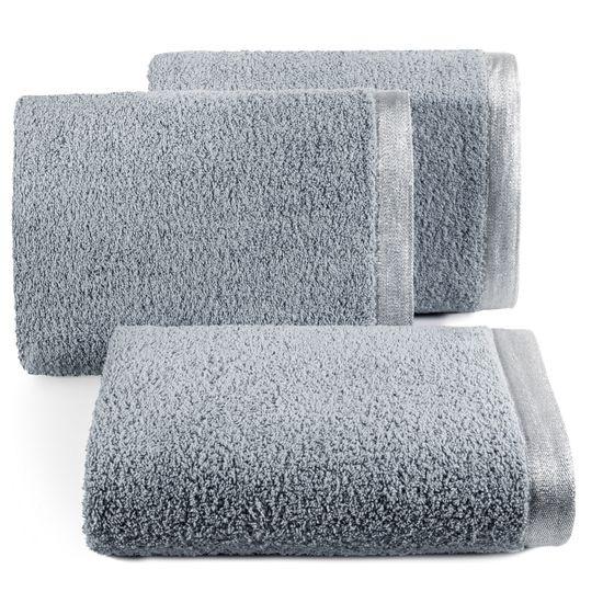 Ręcznik z bawełny z błyszczącym brzegiem 50x90cm stalowy - 50 X 90 cm
