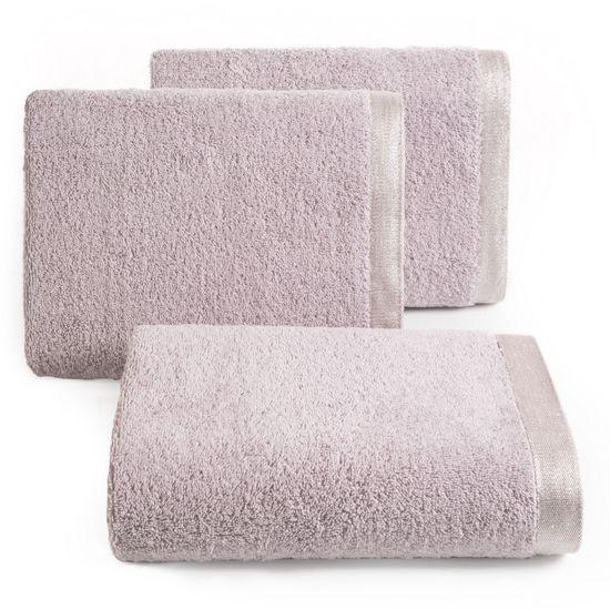 Ręcznik z bawełny z błyszczącym brzegiem 50x90cm różowy - 50 X 90 cm