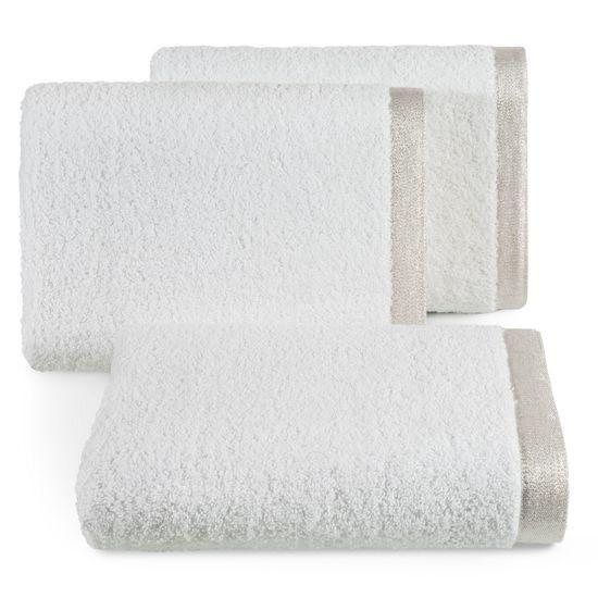 Ręcznik z bawełny z błyszczącym brzegiem 70x140cm biały - 70 X 140 cm - biały