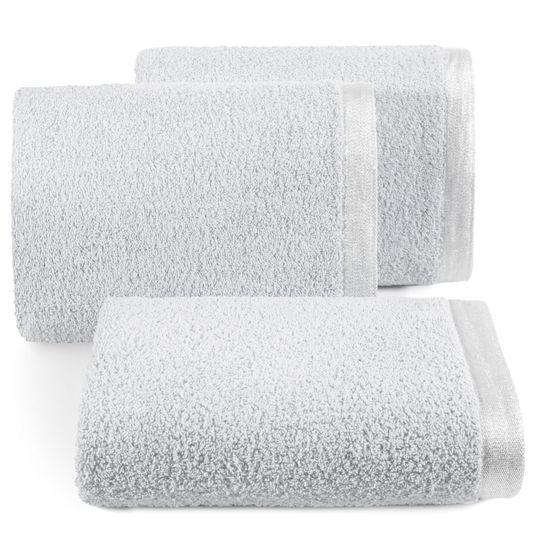 Ręcznik z bawełny z błyszczącym brzegiem 70x140cm popielaty - 70 X 140 cm - srebrny