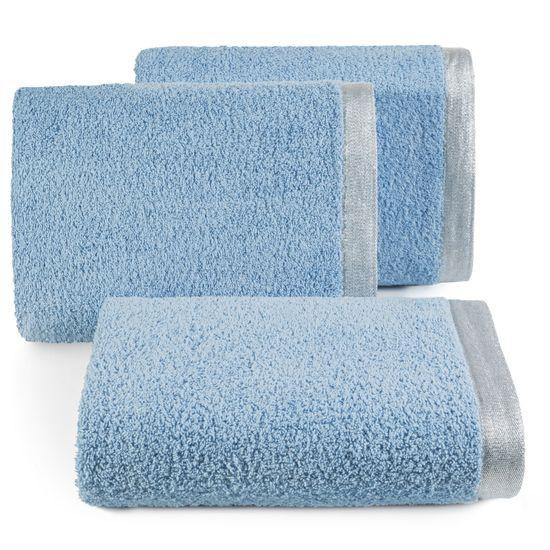 Ręcznik z bawełny z błyszczącym brzegiem 70x140cm niebieski - 70 X 140 cm - niebieski