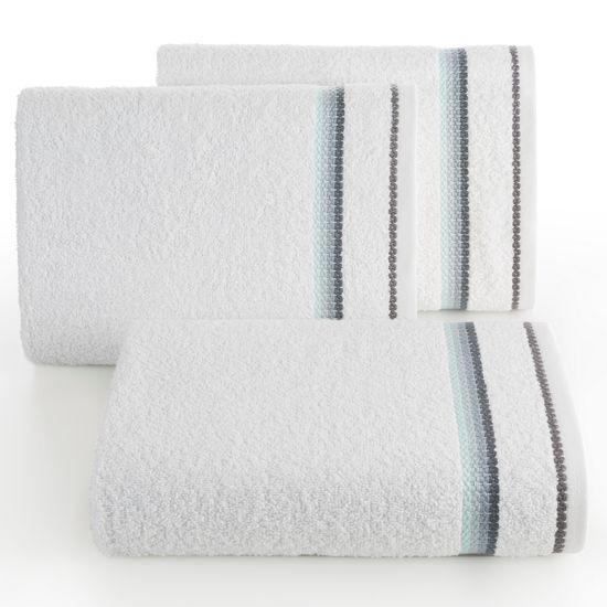 Ręcznik z tęczowym haftem na bordiurze 70x140cm - 70 X 140 cm - biały