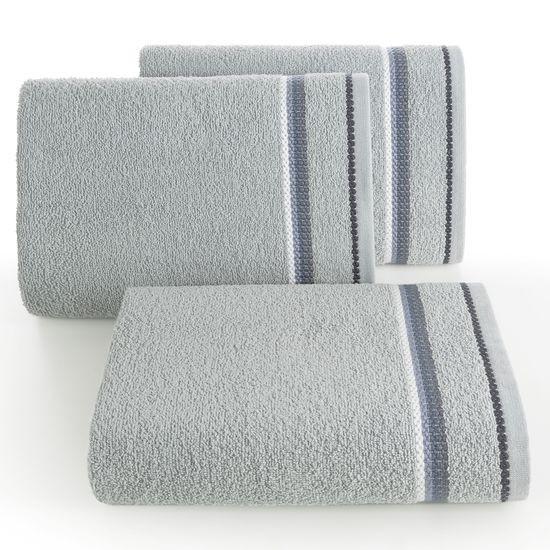 Ręcznik z tęczowym haftem na bordiurze 70x140cm - 70 X 140 cm - srebrny