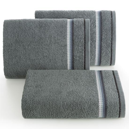 Ręcznik z tęczowym haftem na bordiurze 30x50cm - 30 X 50 cm - stalowy