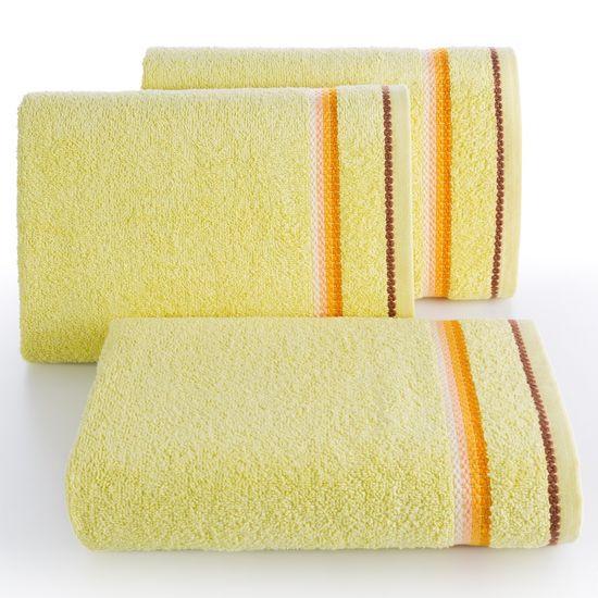 Ręcznik z tęczowym haftem na bordiurze 70x140cm - 70x140 - żółty