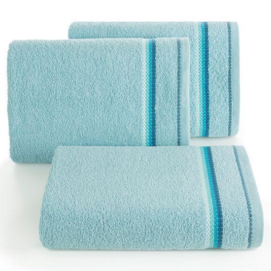 Ręcznik z tęczowym haftem na bordiurze 30x50cm - 30 X 50 cm - niebieski