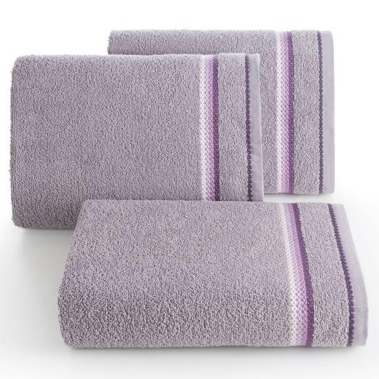 Ręcznik z tęczowym haftem na bordiurze 70x140cm - 70 X 140 cm - liliowy