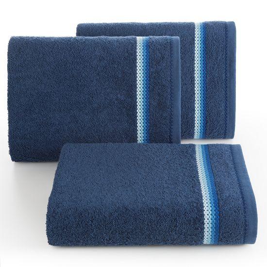 Ręcznik z tęczowym haftem na bordiurze 70x140cm - 70 X 140 cm - granatowy