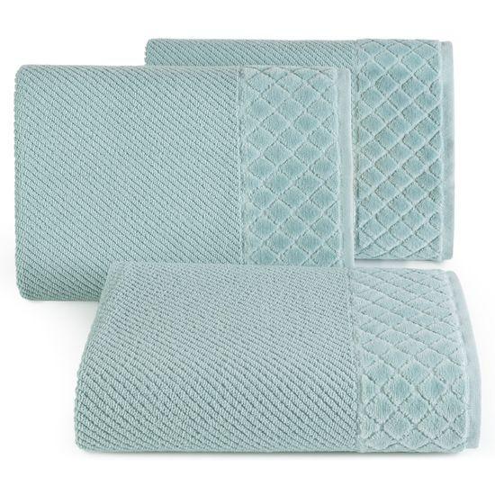 Ręcznik z bawełny z miękką bordiurą w kosteczkę 50x90cm miętowy - 50 X 90 cm