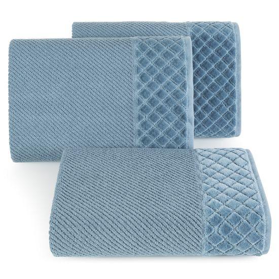 Ręcznik z bawełny z miękką bordiurą w kosteczkę 50x90cm ciemnoniebieski - 50x90