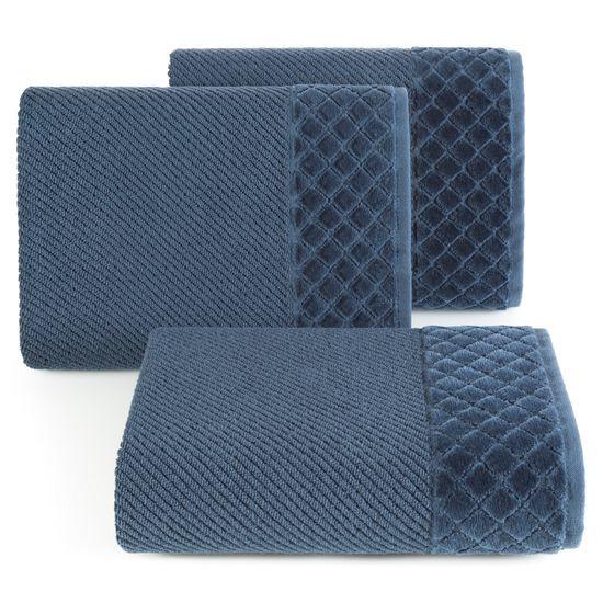 Ręcznik z bawełny z miękką bordiurą w kosteczkę 50x90cm granatowy - 50x90