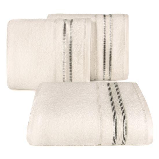 Ręcznik z bawełny z bordiurą podkreśloną srebrną nitką 70x140cm - 70 X 140 cm - beżowy