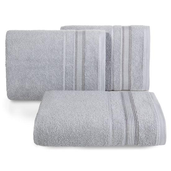 Ręcznik z bawełny z bordiurą podkreśloną srebrną nitką 50x90cm - 50 X 90 cm - srebrny