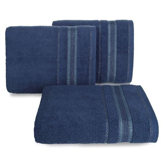 Ręcznik z bawełny z bordiurą podkreśloną srebrną nitką 70x140cm - 70 X 140 cm - granatowy