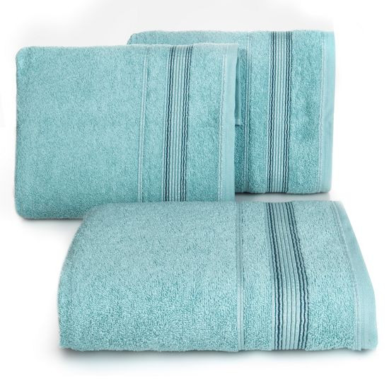 Ręcznik z bawełny z bordiurą podkreśloną srebrną nitką 70x140cm - 70 X 140 cm - turkusowy