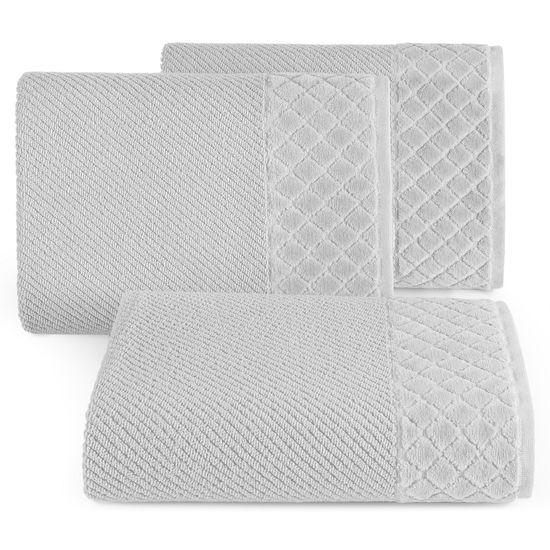 Ręcznik z bawełny z miękką bordiurą w kosteczkę 70x140cm popielaty - 70 X 140 cm - srebrny