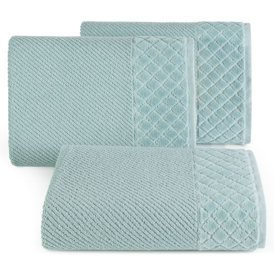 Ręcznik z bawełny z miękką bordiurą w kosteczkę 70x140cm miętowy - 70 X 140 cm - miętowy