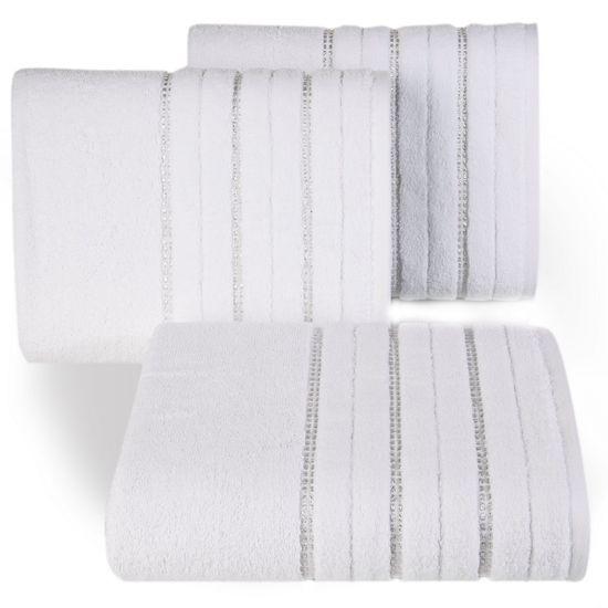 Biały ręcznik kąpielowy z metaliczną nicią - 50x90 cm - 50 X 90 cm