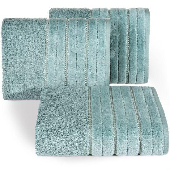 Miętowy ręcznik kąpielowy z metaliczną nicią - 50x90 cm - 50 X 90 cm