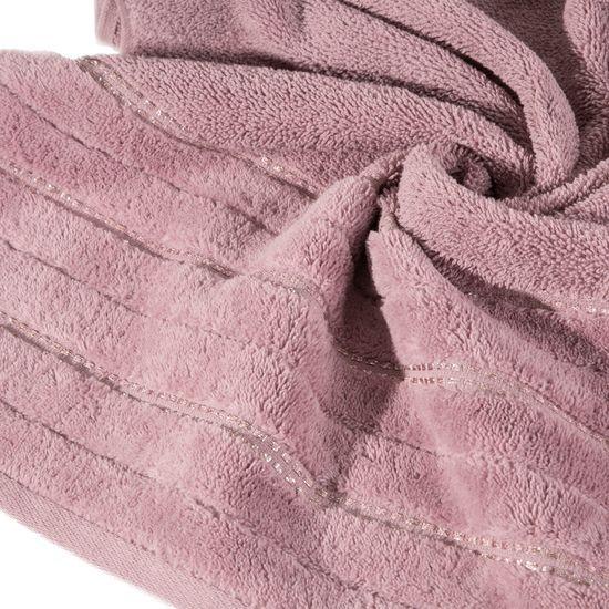 Pudrowy ręcznik kąpielowy z metaliczną nicią - 50x90 cm - 50 X 90 cm