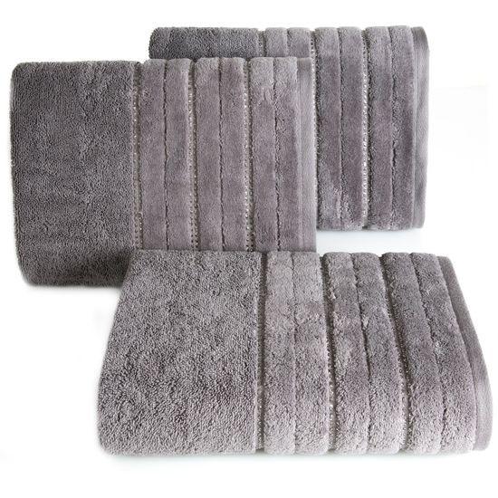 Pudrowy ręcznik kąpielowy z metaliczną nicią - 70x140 cm - 70 X 140 cm