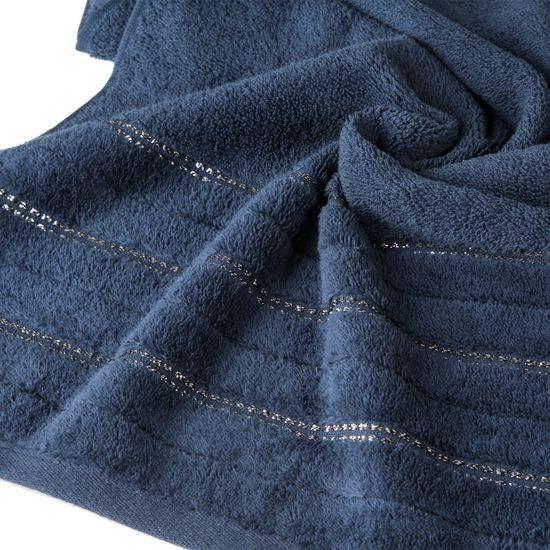 Granatowy ręcznik kąpielowy z metaliczną nicią - 50x90 cm - 50 X 90 cm