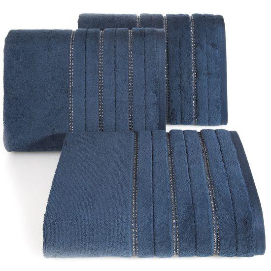 Granatowy ręcznik kąpielowy z metaliczną nicią - 70x140 cm - 70 X 140 cm
