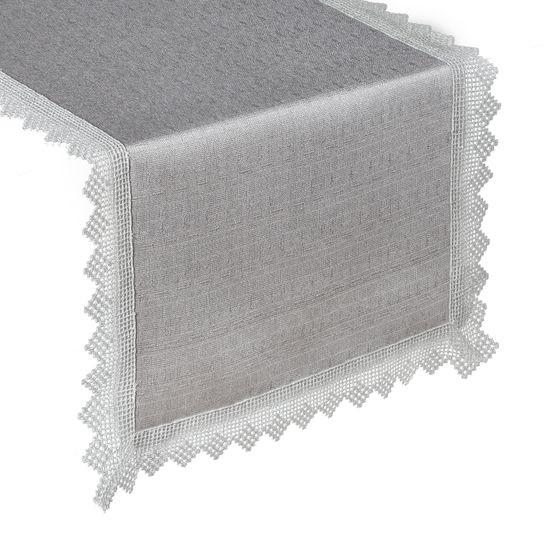 BIEŻNIK Z GIPIURĄ do jadalni srebrny klasyk 35x140 cm - 35x140