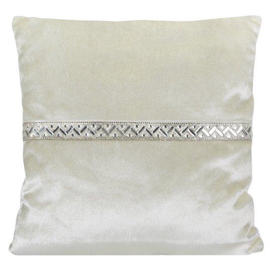 Poszewka na poduszkę kremowa ze srebrnym paskiem 40 x 40 cm  - 40x40
