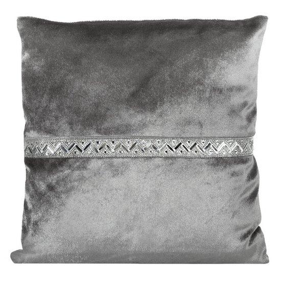 Poszewka na poduszkę stalowa ze srebrnym paskiem 40 x 40 cm  - 40 X 40 cm - szary