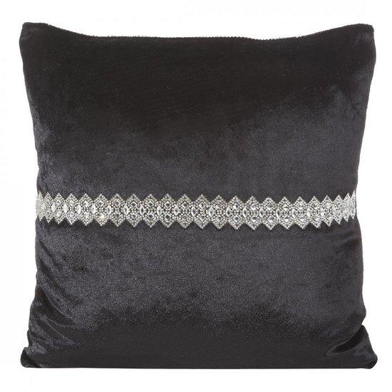 Poszewka na poduszkę czarna ze srebrnym paskiem 40 x 40 - 40 X 40 cm - czarny