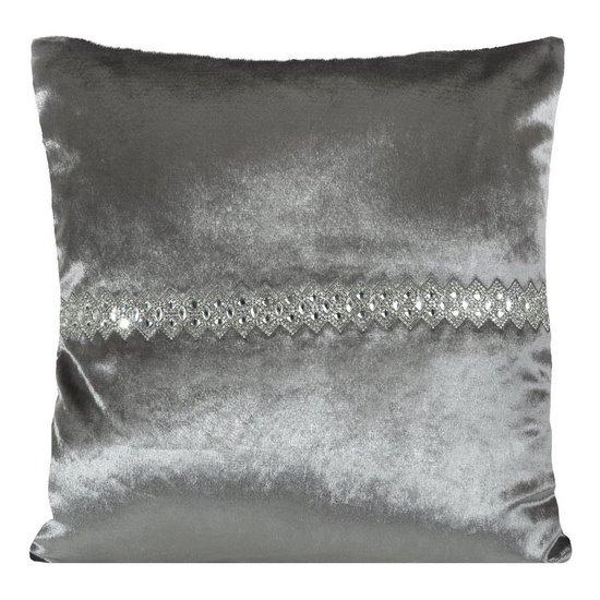 Poszewka na poduszkę stalowa ze srebrnym paskiem 40 x 40 cm  - 40x40