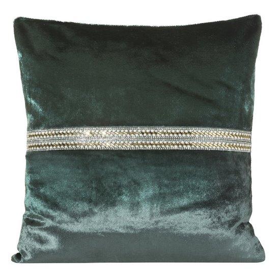 Poszewka na poduszkę ciemnozielona ze srebrnym paskiem 40 x 40 cm  - 40 X 40 cm - zielony