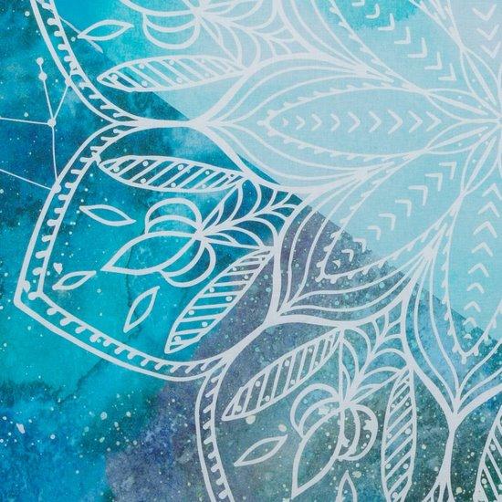 Komplet pościeli bawełnianej 220 x 200, 2 szt. 70 x 80 nadruk z mandalą hiszpańska bawełna - 220x200 - turkusowy / niebieski
