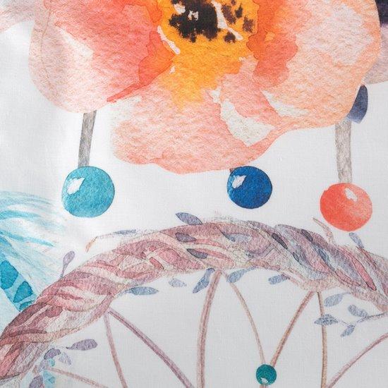 Komplet pościeli bawełnianej 220 x 200, 2 szt. 70 x 80 łapacz snów hiszpańska bawełna - 220x200 - biały / niebieski