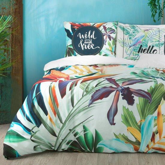 Komplet pościeli bawełnianej 160 x 200 cm, 2 szt. 70 x 80 egzotyczny nadruk bawełna hiszpańska - 160x200 - biały / zielony