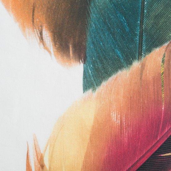 Komplet pościeli bawełnianej 220 x 200, 2 szt. 70 x 80 pióra boho hiszpańska bawełna  - 220x200 - biały / brązowy