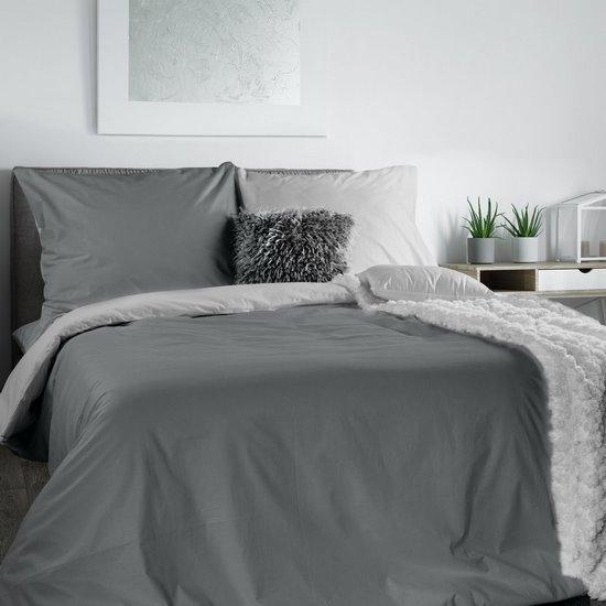 Komplet pościeli bawełnianej 220x200 cm, 2 szt. 70x80 dwustronny srebrno-stalowy - 220 X 200 cm, 2 szt. 70 X 80 cm - jasnoszary/stalowy