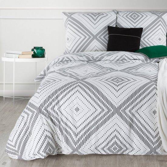 Komplet pościeli bawełnianej 160x200 cm, 2 szt. 70x80 cm nadruk geometryczny biało-czarny - 160x200 - biały / czarny