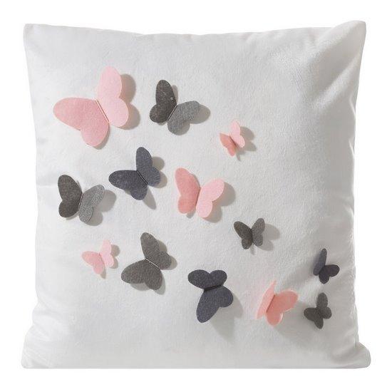 Poszewka welwetowa biała z kolorowymi motylkami 45 x 45cm - 45x45 - biały / różowy