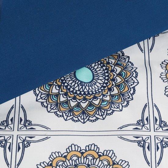 Komplet pościeli z satyny bawełnianej 160x200 cm, 2 szt. 70x80 cm nadruk mandale w kwadratach - 160x200